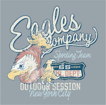Eagles Company - Kunstwerk voor sportkleding in aangepaste kleuren - grunge effect in een aparte laag Stock Illustratie