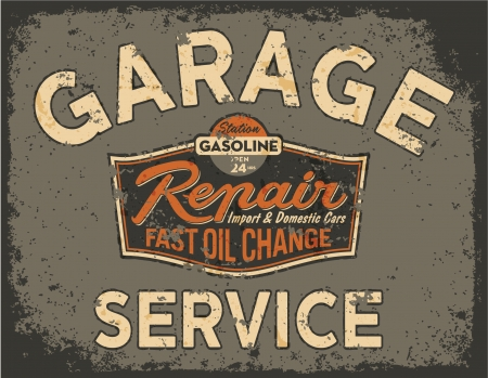 Car service vintage signboard - Vector artwork in custom colors, grunge effect in separate layer