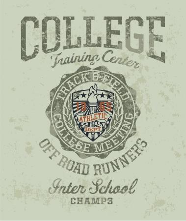 bieżnia: Spotkanie kolegium utworu terenowych - Vintage sportowe grafika dla chłopca sportowej w niestandardowych kolorach Ilustracja