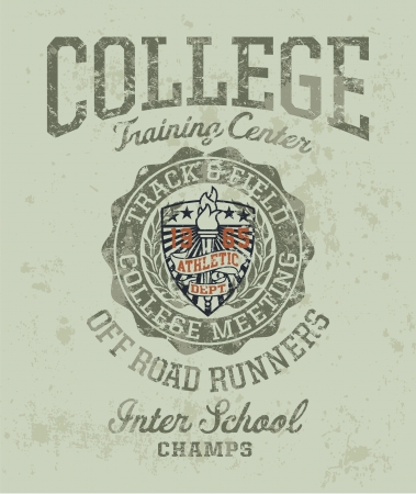 college campus: Track   field college meeting - Vintage athletic artwork for boy sportswear in custom colors Illustration