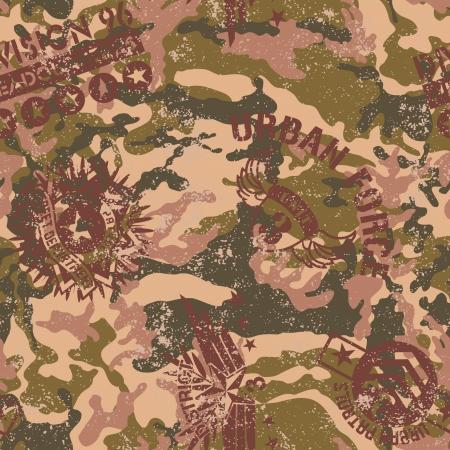 軍のバッジ - 都市迷彩グランジ ベクトルのシームレスなパターン