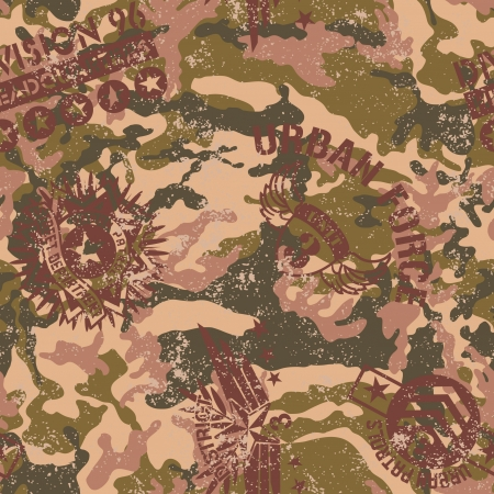 Urban camouflage with military badges - Grunge vector seamless pattern