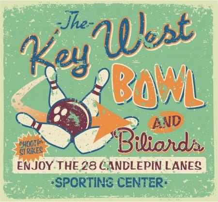 vintage: Vintage bowling uithangbord, vectorillustraties voor jongen t-shirt in aangepaste kleuren, grunge effect in een aparte laag