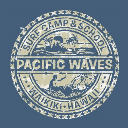 flores retro: Olas del Pac�fico Surf Camp - Vector grunge impresi�n para ropa deportiva en colores personalizados