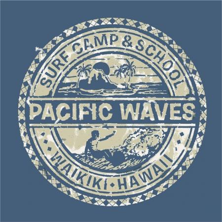 mode retro: Pacific golven surf camp - Vector grunge druk voor sportkleding in aangepaste kleuren