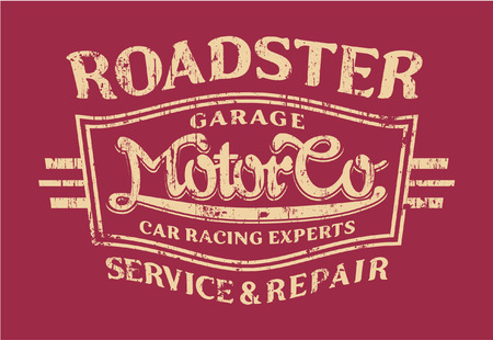 t shirt print: Roadster Motor co   - Vector artwork for sports wear, grunge effect in separate layer