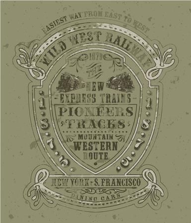 野生の西の鉄道 - ベクトルの男の子、男性服、カスタム色でヴィンテージのアートワーク、グランジ効果は別々 の画層の印刷