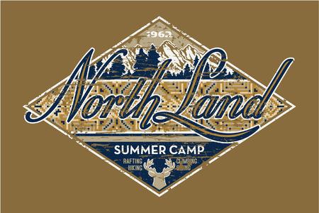Nord Terrain camp d'été - illustration de cru de vecteur pour l'usage de garçon dans des couleurs personnalisées, effet grunge dans la couche séparée