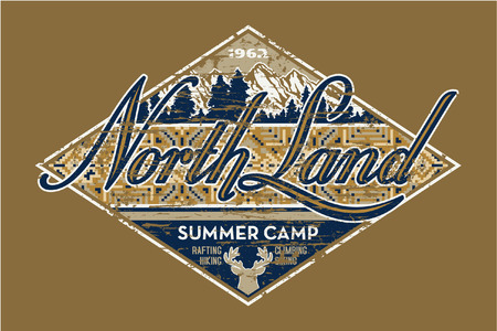 North Land summer camp - Vintage vector artwork for boy wear in custom colors, grunge effect in separate layer Vector