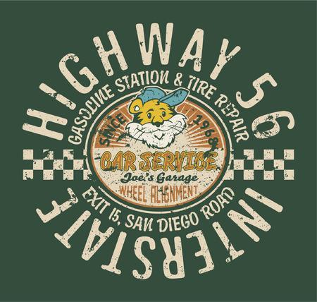 t shirt print: Highway service station  Funny vintage artwork for kids wear in custom colors, grunge effect in separate layer  Illustration