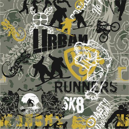 graffiti: Grunge urbano patchwork deportes - Vector patrón transparente en colores personalizados Vectores