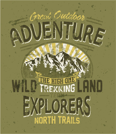 Great outdoor adventure - Vintage vector artwork for boy wear in custom colors, grunge effect in separate layers