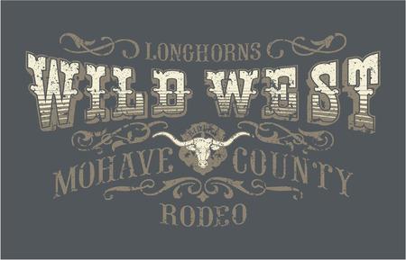 Selvaggio rodeo ovest, opere d'arte d'epoca vettore per usura ragazzo, effetto grunge in strati separati