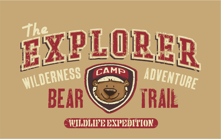Bear trail outdoor adventure - artwork for children wear in custom colors Vector