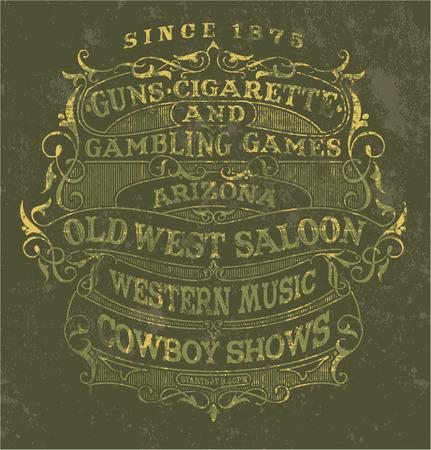 viejo oeste: Antiguo cartel del estilo del oeste - vector de la etiqueta de la vendimia en colores personalizados, efecto del grunge en capas separadas Vectores