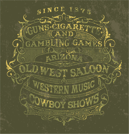 Old west style poster - Vintage vector label in custom colors, grunge effect in separate layers  Illustration
