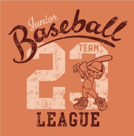 little league: Cute baseball player - Vector artwork for children wear in custom colors - grunge effect in separate layer