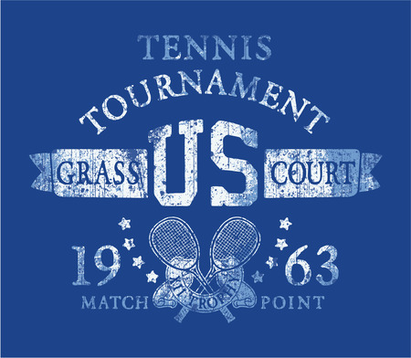 Tennis tournament, Vintage artwork for sports wear in custom colors, grunge effect in separate layer  Vector