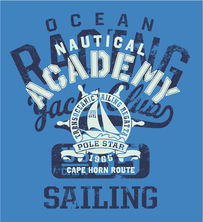 Cape Horn sailing regatta , vector artwork for sportswear in custom colors, grunge effect in separate layer  Illustration