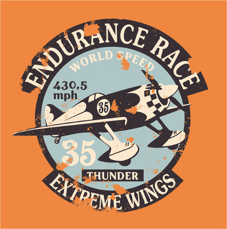racing wings: Air racing badge - vintage artwork in custom colors, grunge effect in separate layer