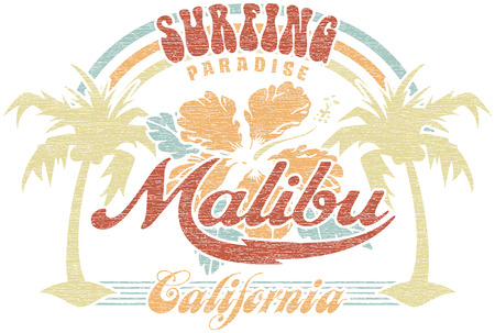 malibu: Malibu surfing paradise - Vector vintage print for girl t-shirt in custom colors, grunge effect in separate layer