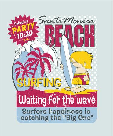t shirt print: California surfing boy - Artwork for children wear in custom colors, grunge effect in separate layer Illustration