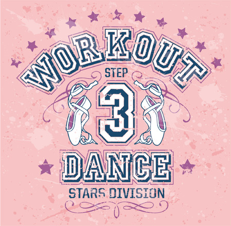 ballerina: Dance workout - Editable vector artwork for girl sportswear in custom colors, grunge effect in separate layers