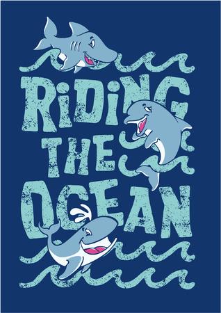 Riding the ocean - artwork for children wear in custom colors  矢量图像