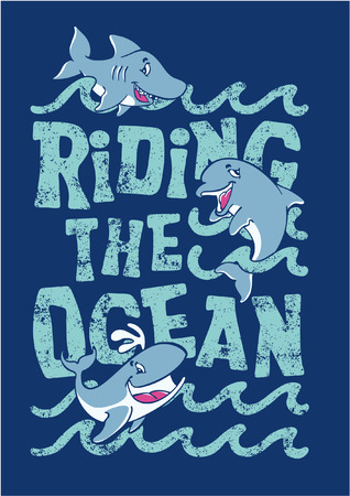 Riding the ocean - artwork for children wear in custom colors  Vectores