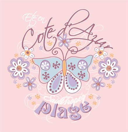 azure coast: Azure coast with butterfly and flowers - Prints for girls wear in custom colors