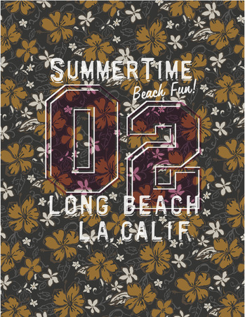 t shirt print: Long beach glamour girl - Prints for girls wear with hibiscuses background seamless pattern in custom colors