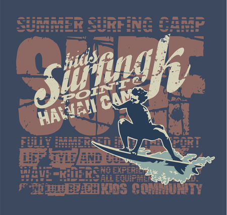 surf silhouettes: Hawaii surfing camp - Vector grunge print for sports wear in custom colors