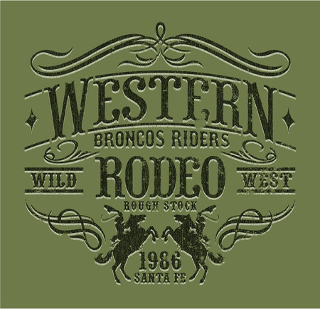 ranches: Western riders rodeo, vintage vector artwork for boy wear, grunge effect in separate layers