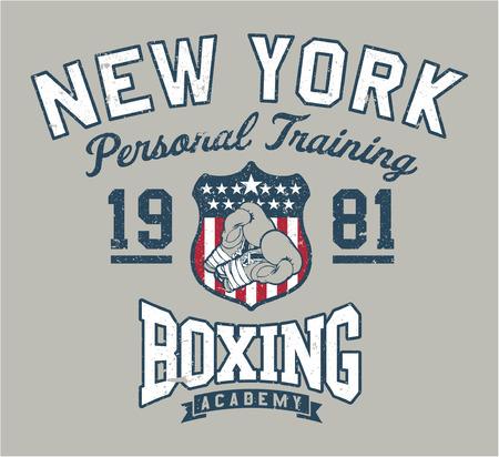 ニューヨーク ボクシング アカデミー - スポーツウェア カスタム カラーで、別のレイヤーにグランジ効果のヴィンテージ作品  イラスト・ベクター素材