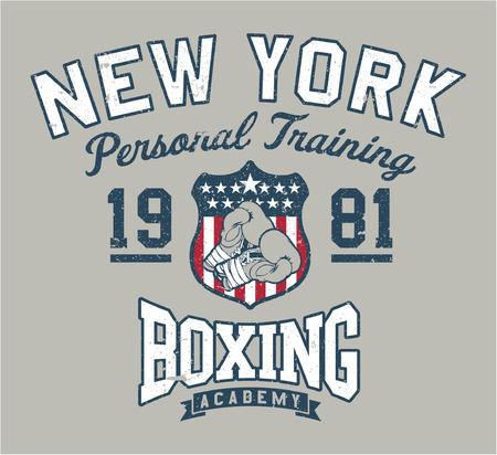 New York Boxing academy - Vintage artwork for sportswear in custom colors, grunge effect in separate layer Vettoriali