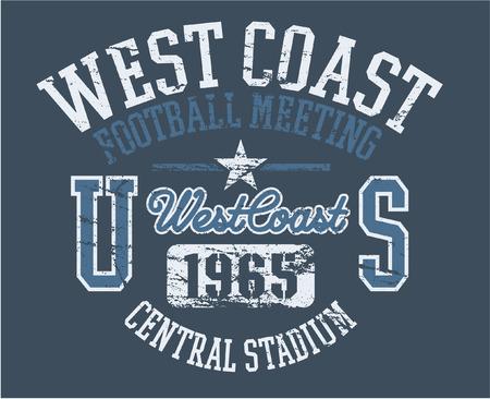 West Coast Athletics - vector print for boy sportswear in custom colors  Vector