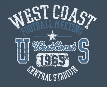 West Coast Athletics - vector print for boy sportswear in custom colors  Vector
