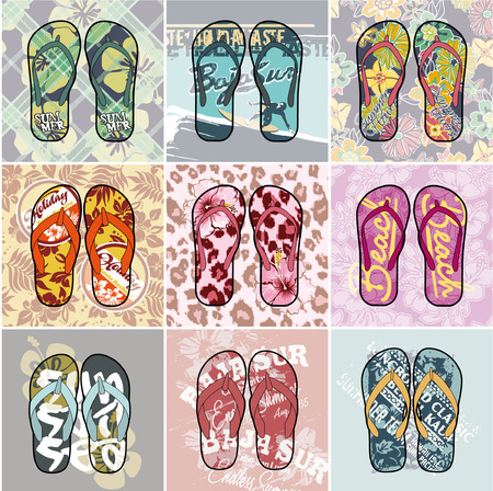 Flip Flop  collection, set of  different vector artworks   Vector