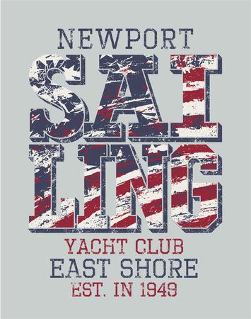 Newport sailing club, vector artwork for sportswear in custom colors Vettoriali