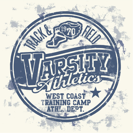 Varsity athletics  - Grunge vector artwork for boy sportswear
