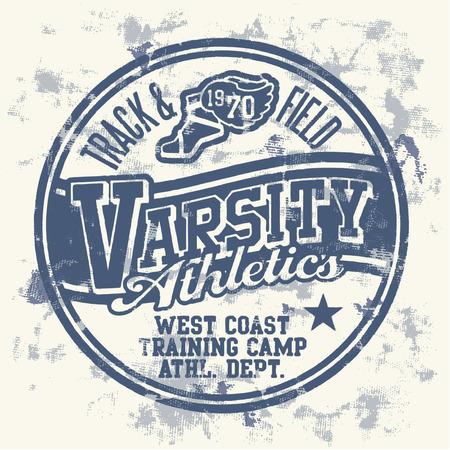 Varsity athletics  - Grunge vector artwork for boy sportswear  Vector