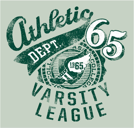 Varsity athletics  - Grunge vector artwork for boy sportswear  Vector