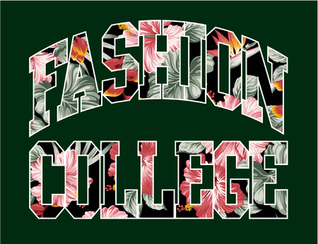 the varsity: Fashion college, vector floral artwork for girls sportswear