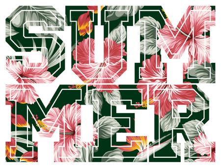 Summer, vector floral artwork for girls sportswear