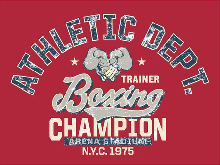 boxing knockout: Boxing Champion - Vintage artwork for kids sportswear in custom colors, grunge effect in separate layer