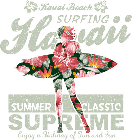 surfer: Floral Hawaii surfing, vector artwork for girl summer t shirt, grunge effect in separate layer