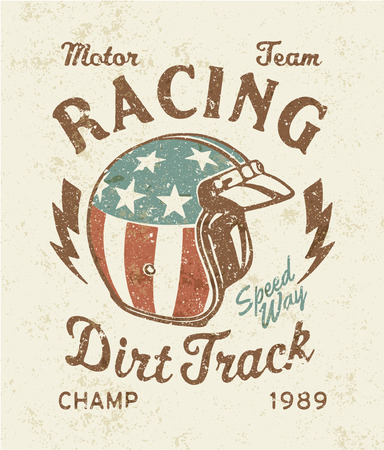 helmet: Dirt track racing  - Vector artwork for sports wear, grunge effect in separate layer Illustration