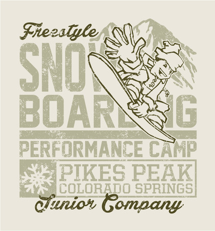 t ski: Snowboard camp  vector artwork for kids wear in custom colors, grunge effect in separate layer  Illustration