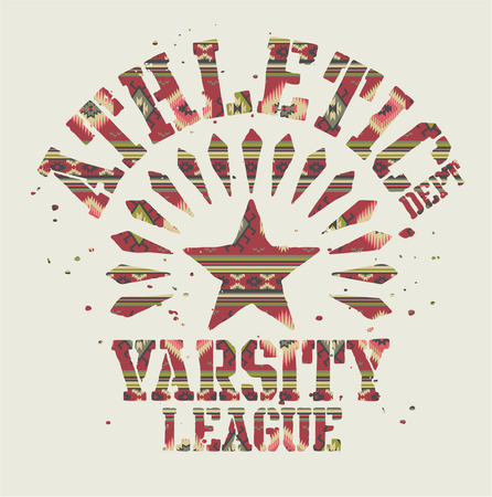 the varsity: Native Americans athletic. Vintage artwork with ethnic pattern in custom colors