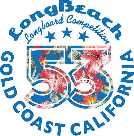the varsity: Long Beach surfing, vector artwork for girls t shirt